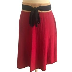 Anthropologie Red Skirt Girls From Savoy MidLength